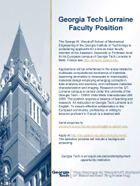Tenure Track Faculty Position at Georgia Tech-Lorraine, 151110